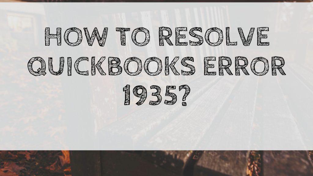 QuickBooks Error 1935